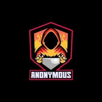 Hacker anónimo jugador espía humana computadora en línea