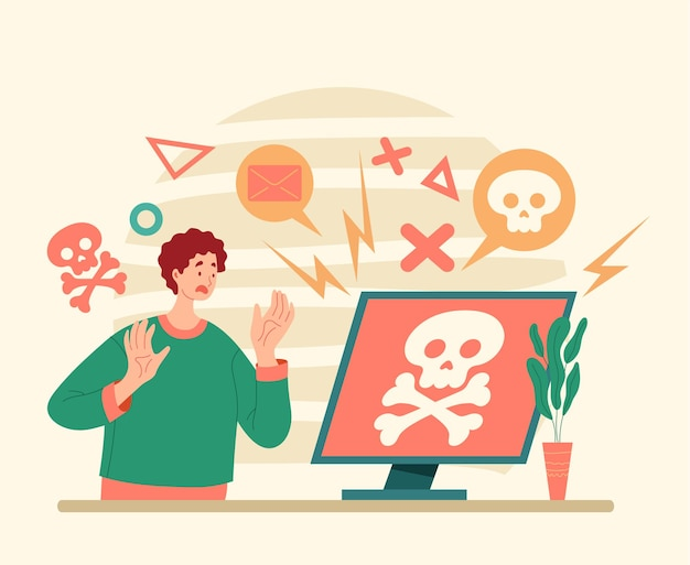 Hacker ataque virus informático flat