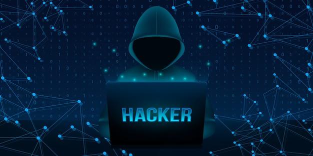 Hacker con capucha, cara oscura oscurecida, computadora portátil pc.