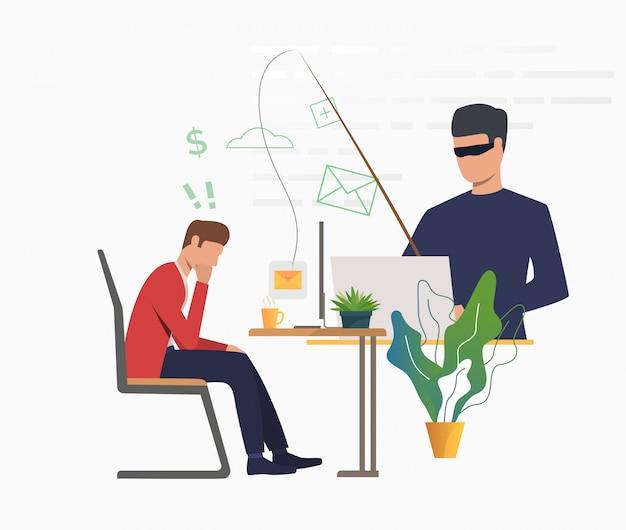 Hacker cibernético hackeando el servidor de correo