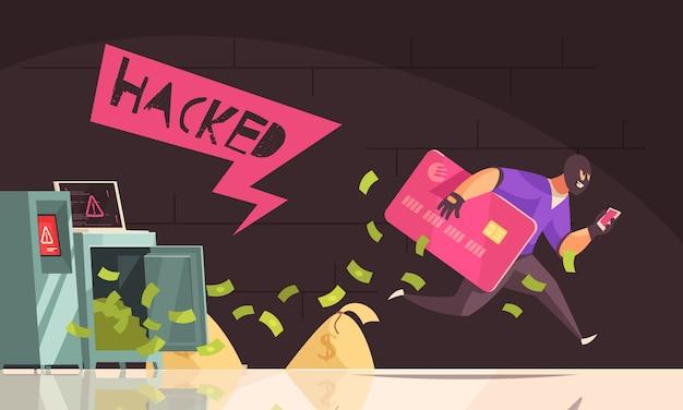 Hacker de color y plano se escapa hombre de composición robar tarjeta de crédito y ejecuta ilustración vectorial