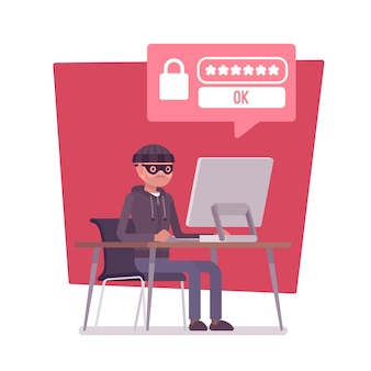 Hacker descifrando la contraseña de la computadora