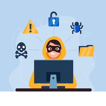 Hacker ilustrado con elementos de seguridad.