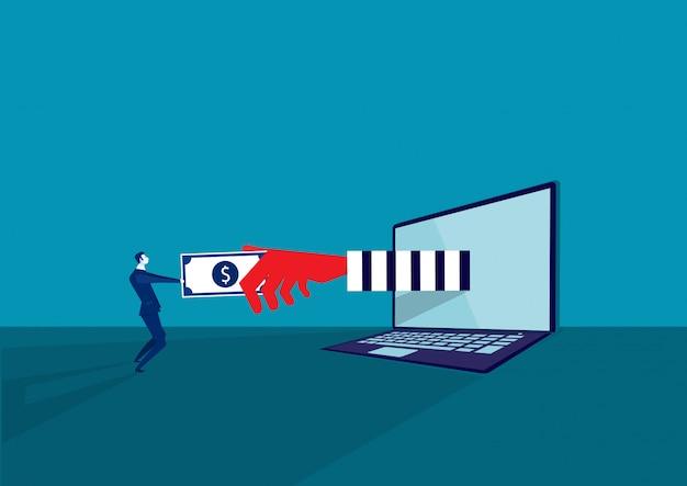 Hacker ladrón dinero en concepto de cuaderno y piratería criminal