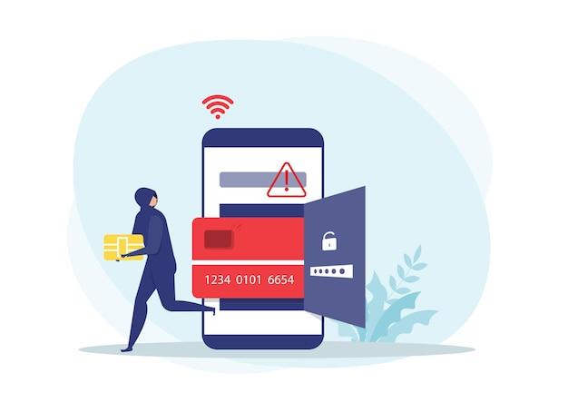 Hacker o ladrón criminal en negro roba nave inteligente de tarjeta de débito o crédito en datos de teléfonos inteligentes o concepto de identidad personal,