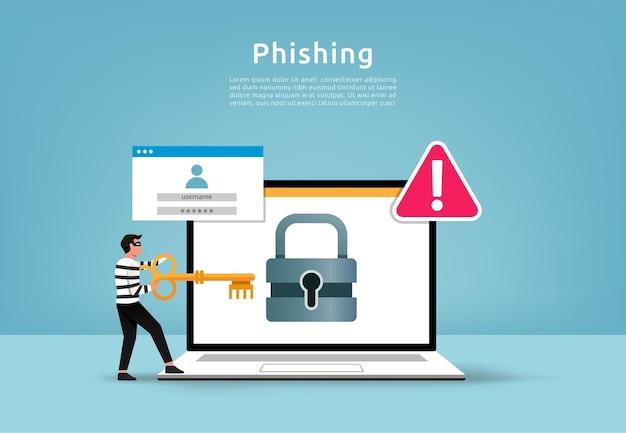 Hacker robando el concepto de datos digitales. cuenta de phishing con ilustración de marca de advertencia.