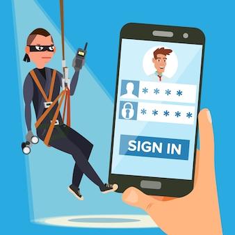 Hacker robando contraseña personal