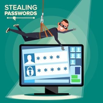 Hacker robando contraseña