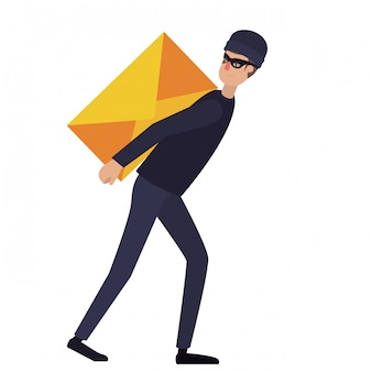 Hacker robando información avatar personaje