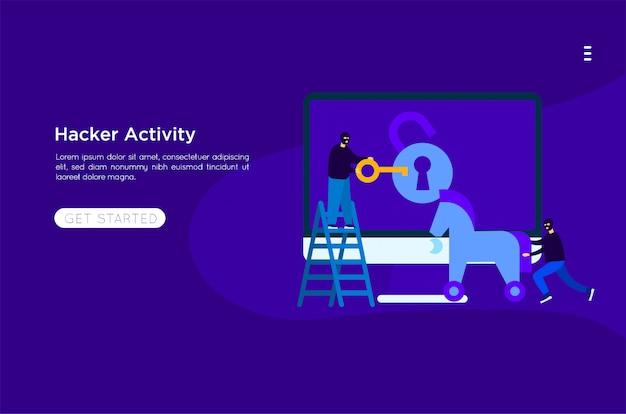 Hacker robar ilustración