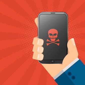 El hacker está sosteniendo un dispositivo pirateado en sus manos.