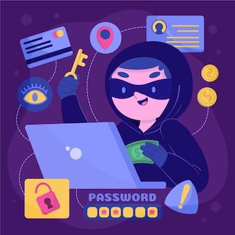 Hacker trabajando con identidades falsas