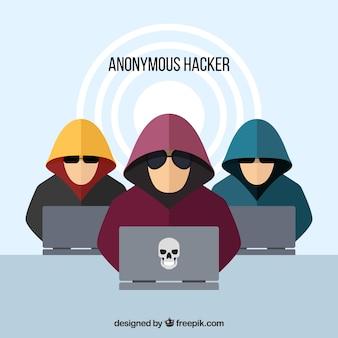 Hackers anónimos con diseño plano