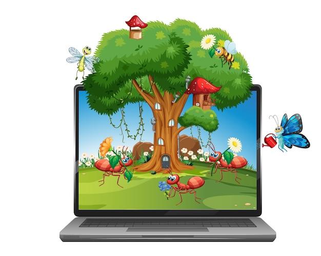 Hada de dibujos animados de insectos en la computadora