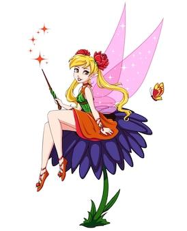 Hada de dibujos animados lindo sentado en niña de las flores