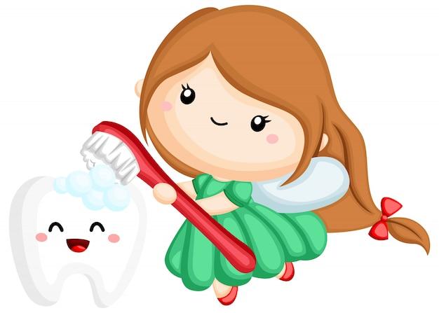 Un hada de los dientes cepillando un diente con un cepillo.