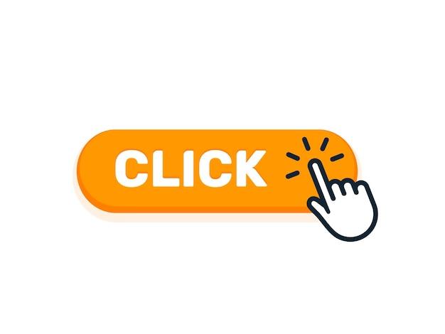 Haga clic aquí en el botón con el icono de la mano. vector haga clic en símbolo de cursor de signo web. botón aislado.