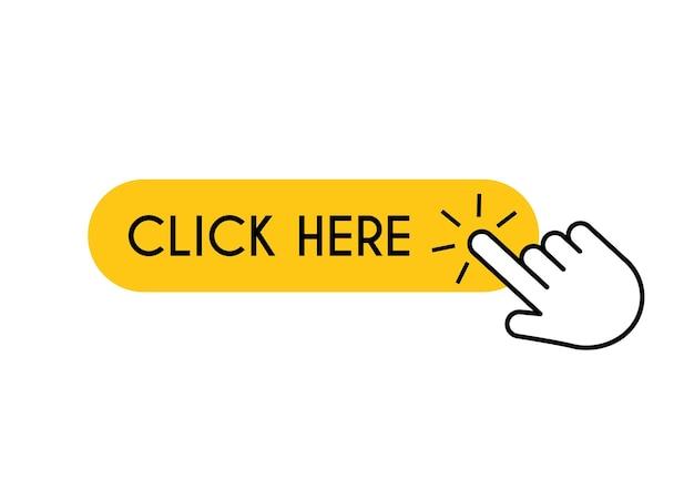 Haga clic aquí botón de mano puntero del ratón cursor toque símbolo digital vector venta o concepto de búsqueda