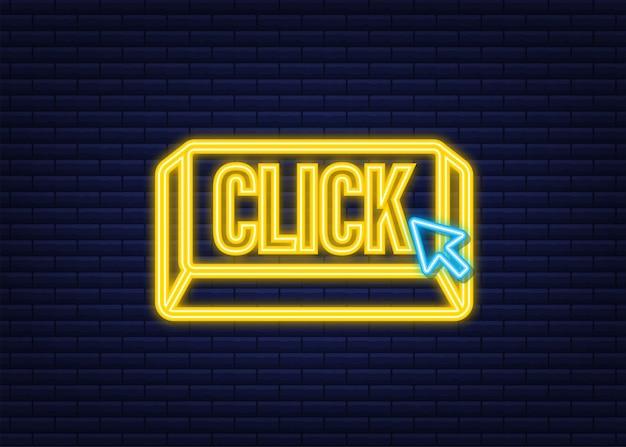 Haga clic en el botón con el puntero de la mano haciendo clic. icono de neón. ilustración de stock vectorial.