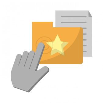 Haga clic en el cursor con la carpeta y el documento