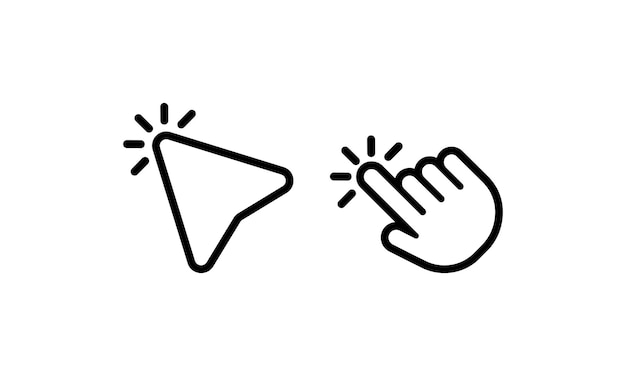 Haga clic en la flecha del cursor del mouse de la computadora. hacer clic. puntero del icono de mano. vector sobre fondo blanco aislado. eps 10