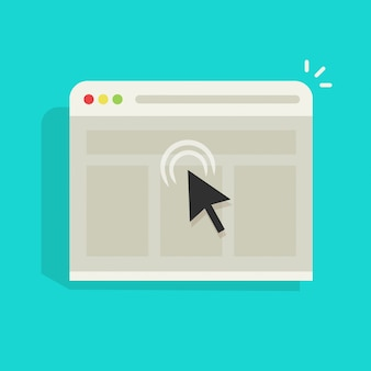 Haga clic en la flecha del ratón en la ventana del sitio web del navegador