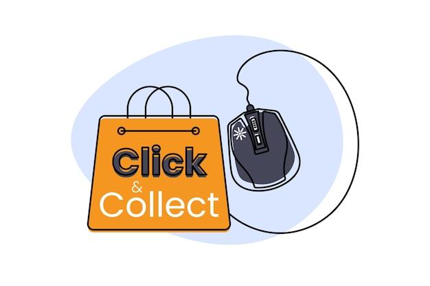 Haga clic y recopile con el mouse de la computadora