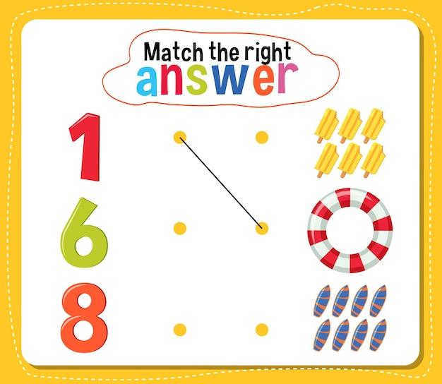 Haga coincidir la actividad de respuesta correcta para niños