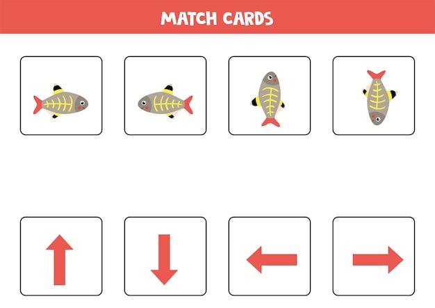 Haga coincidir las imágenes con flechas de orientación. pez de rayos x de dibujos animados. izquierda o derecha, arriba o abajo.