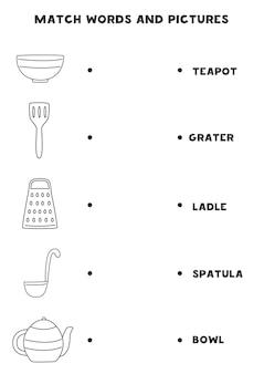 Haga coincidir los utensilios de cocina en blanco y negro y las palabras. juego de lógica educativo para niños.