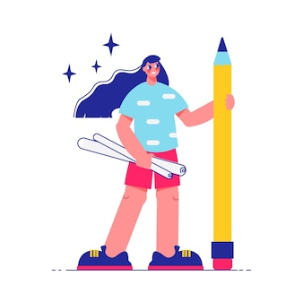 Haga una lluvia de ideas sobre la composición del trabajo en equipo con el carácter de una niña con borradores enrollados y una gran ilustración de lápiz