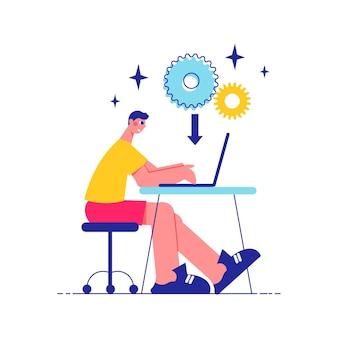 Haga una lluvia de ideas sobre la composición del trabajo en equipo con la vista lateral del hombre que trabaja en la mesa con la computadora portátil y los iconos de engranajes con la ilustración de la flecha