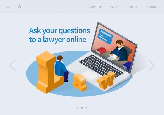 Haga sus preguntas a un abogado en línea isométrica.