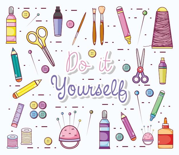Hágalo usted mismo dibujos animados con suministros de artesanía