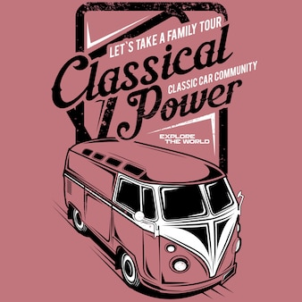Hagamos un recorrido familiar por el poder clásico, ilustración de un automóvil familiar clásico
