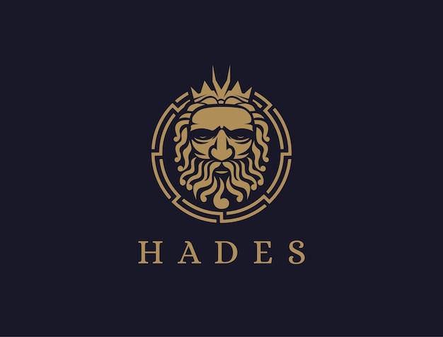 Haides god logo icono ilustración vector, logo de dios plutón, logo de orkus