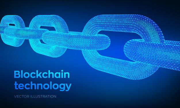 Сhain con código binario, concepto blockchain,
