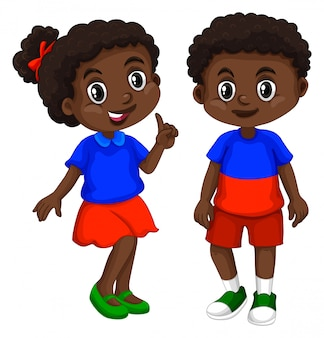 Haití niño y niña con cara feliz.
