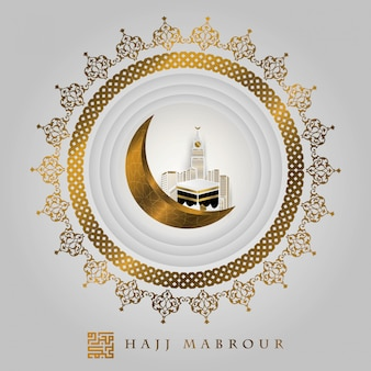 Hajj mabrour hermoso diseño de vector floral dorado con kaaba