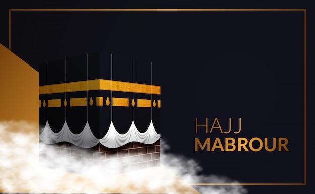 Hajj mabrour peregrinación del evento islámico a la meca, arabia saudita. edificio kaaba. eid al adha mubarak.