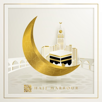 Hajj mabrour saludo islámico con kaaba y hermosa luna