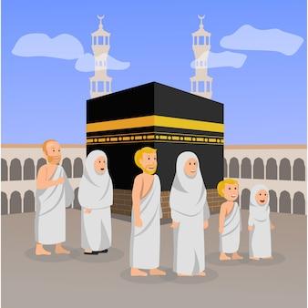 Hajj peregrinación oración islámica en ilustración de macca