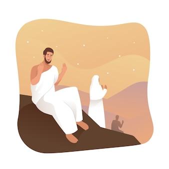 Hajj peregrinos rezando en el monte arafat