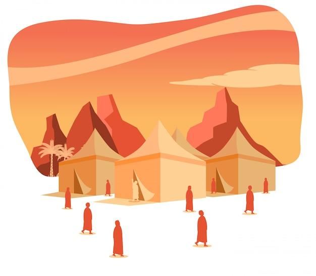 Hajj silueta de peregrinación en el área de tiendas de mina al amanecer