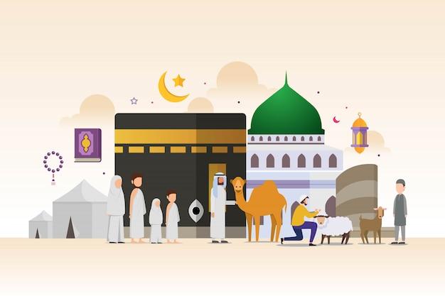 Hajj y umrah temporada con concepto de diseño de personajes de personas diminutas