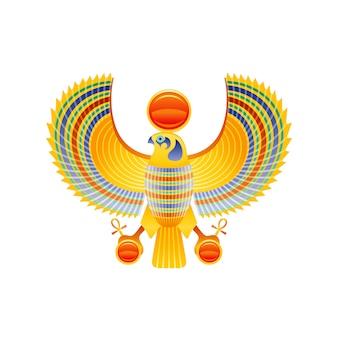 Halcón egipcio. símbolo de dios horus y ra. carácter de pájaro halcón con ala dorada del arte del antiguo egipto. icono de estatua realista 3d de dibujos animados.