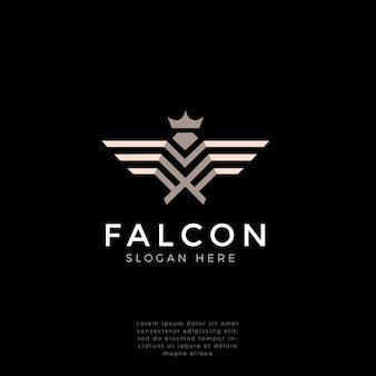 Halcón, halcón, águila logo monograma fuerte