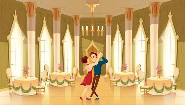 Hall con bailarines, interior del salón de baile. gran habitación con lámpara, columnas para la recepción real