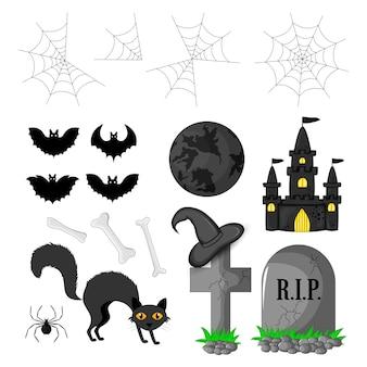 Halloween con atributos tradicionales. estilo de dibujos animados vector.
