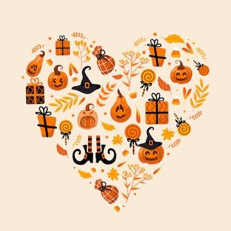 Halloween brillante conjunto ilustración vectorial calabaza jackolantern sombrero de bruja regalos en forma de corazón